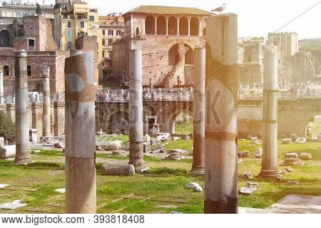 Columns In The Center Of Rome Remained From The Ancient Forum Trajan. The Name Of The Ancient Forum