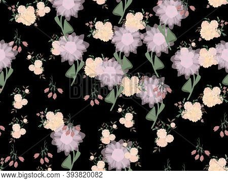 Seamless Floral Pattern. Flowers Texture. Simplicity Flower Surface Pattern Design.