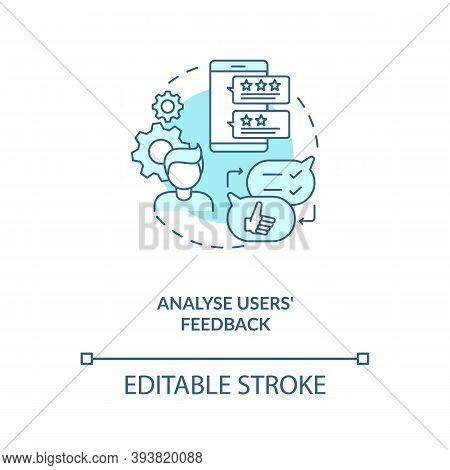 Analyse Users Feedback Concept Icon. App Marketing Tips. After Using Product Emotions Telling Idea T