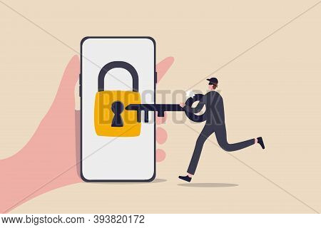 Cyber Security, Hacker Steal Money Online, Phishing Or Digital Banking Threat Concept, Hand Holding