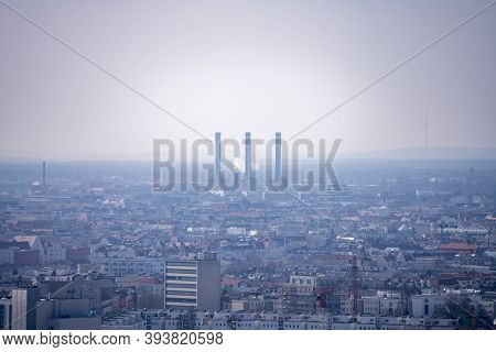 Berlin Power Plant With Hazy Air In Summer