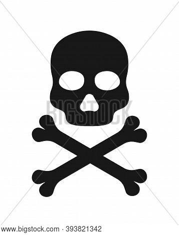 Skull Icon. Icon Of Death. Black Crossbones With Skull-symbol Of Danger. Sign Of Pirates Flag. Bone