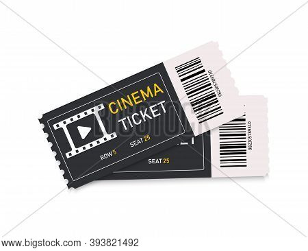 Ticket In Cinema. Logo For Movie And Theater. Two Coupons For Film. 3d Icons. Mockups Of Tickets Iso