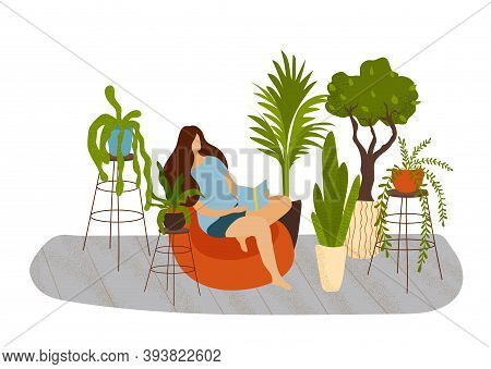 Connection With Nature. Eco House. Living Room With An Abundance Of Indoor Plants. A Woman On A Pouf