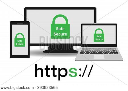 Https Protocol - Secure Networks, Secure Browsing On A Computer, Laptop, Or Phone.vector Illustratio