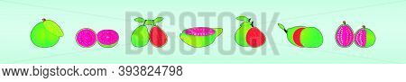 Set Of Guava. Modern Cartoon Icon Design Template With Various Models. Vector Illustration Isolated