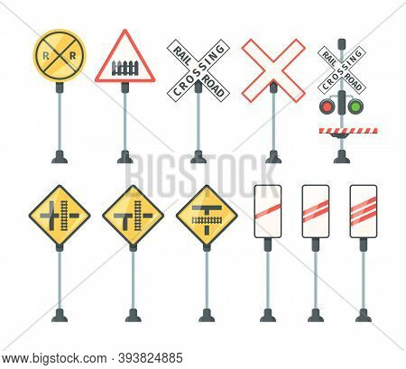 Railway Signs. Train Barriers Traffic Light Specific Symbols Road Direction Arrows And Banners Vecto
