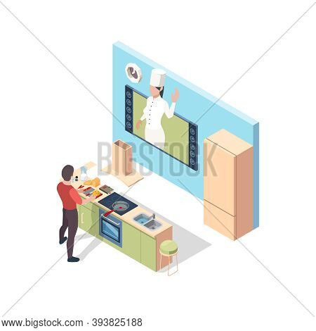 Cooking Online. Preparing Food Broadcasting Lesson Chef Teaching In Kitchen Online Vector Isometric