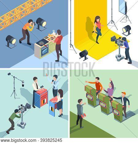 Tv Show Production. Digital Broadcasting Tv Quiz Talking Show Participants Vector Isometric Set. Stu