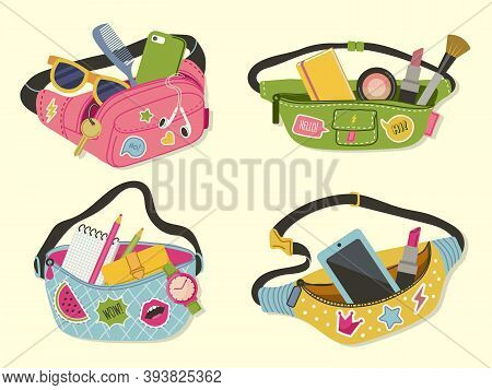 Waist Bags. Funny Cute Style Accessories Happy Lady Modern Bags For Handy Items And Money Vector Ill
