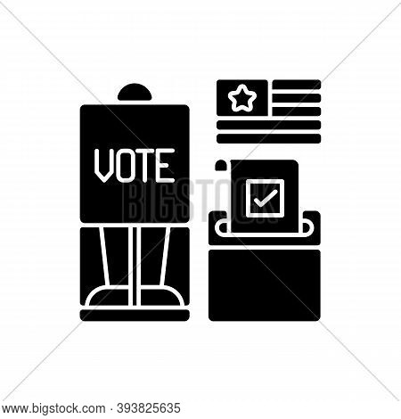 Voting Booth Black Glyph Icon. Cabin In Polling Station. Casting Ballots In Elections. Privacy Scree