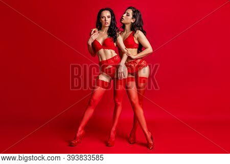 Full Length Body Size View Of Two Nice-looking Attractive Hot Kinky Glamorous Amorous Naughty Horny