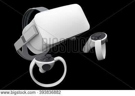Virtual Reality Glasses And Controllers For Online And Cloud Gaming Isolated On Black With Clipping