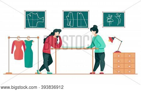 Sewing Clothes Textile Atelier Flat Vector Drawing. Cloth Designer Characters Working On Tailor In H