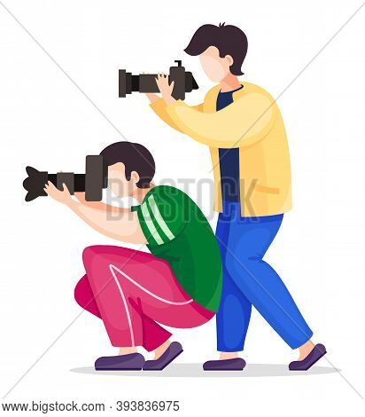 Set Of Vector Cartoon Characters Isolated At White. Photographers Or Paparazzi Taking Photo, Shootin