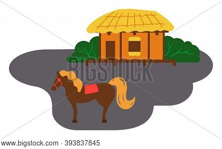 Asian Village Old House Vector Art And Illustration. Thatched-roof Rural House Near The Horse. Tradi