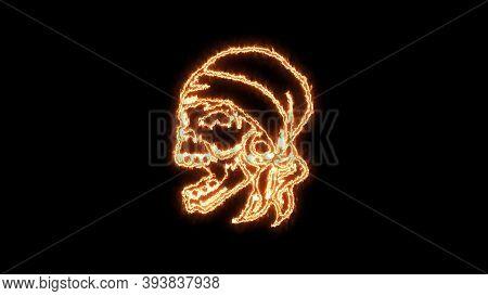 Fire Burning Skull. Devilish Skull Burning Hell With Scary, Halloween, Horror Concept. Royalty High-