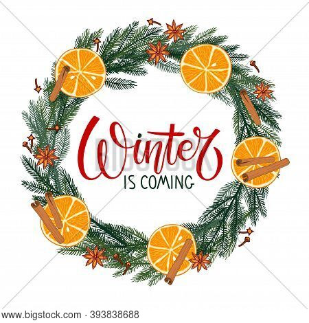 Winter Is Coming Lettering With Evergreen Branches, Red Berries, Orange Slices Wreath. Vector Illust