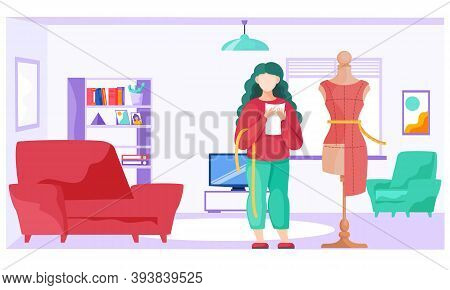 Sewing With Designer Or Seamstress Working With Red Dress Pattern. Unfinished Dresses Model At Manne