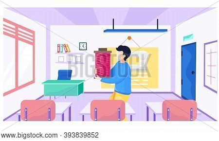 A Male Teacher Explains New Topic To Seamstresses. Materials Science Lesson School. Image Of Sewing