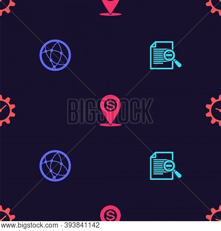 Set Document With Search, Social Network, Cash Location Pin And Time Management On Seamless Pattern.