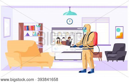 A Man In Protective Suit Disinfects The Living Room Or Office With Spray Gun. Concept Of Coronavirus