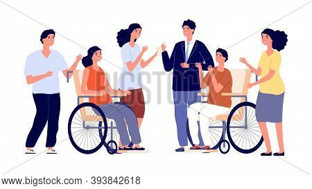 Healthy And Disabled People. Man Woman On Wheelchair With Friends. Friendship, Social Adaptation And