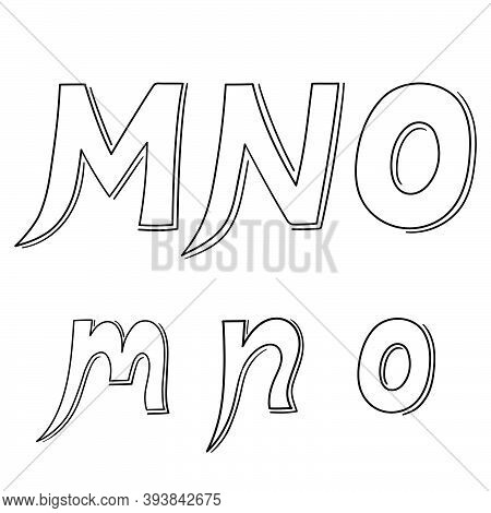 Hand Writing M&n&o On White Background.hand Drawn Alphabet. Vector Illustration Design. For Poster,w