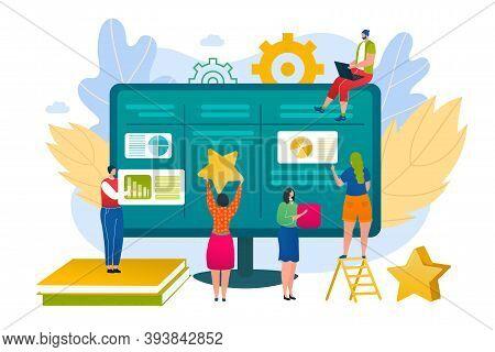 Business People Use Kanban Board Management Concept, Vector Illustration. Scrum Team Project Work, M