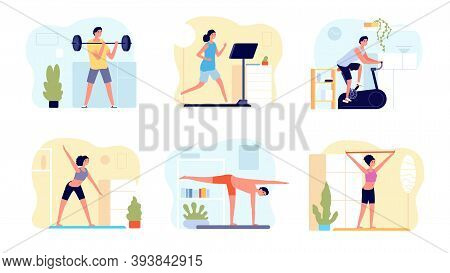 Home Training. Man Activity, Practicing Exercise Pilates Fitness For Body. People Morning Yoga And W