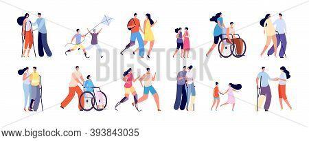 Disabilities And Friends. Disablement Person Lifestyle, Handicap Man In Wheelchair. Handicapped Rela