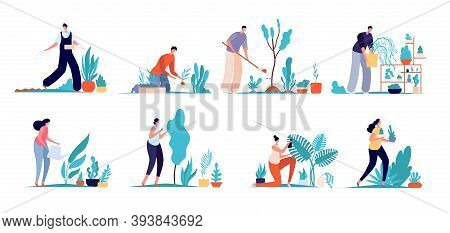 Gardening People. Garden Characters, Agriculture Labor Persons. Cartoon Gardener Man Woman Care Gree