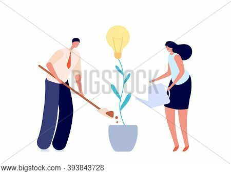 People Growth Idea. Growing Innovation, Teamwork Or Investment In Future Metaphor. People Planting B