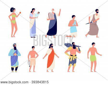 Holy Bible Characters. Legendary Man, Christian Religion Persons. Jesus Christ, Biblical Newborn Bir