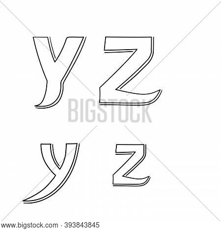 Hand Writing Y&z On White Background.hand Drawn Alphabet. Vector Illustration Design. For Poster,web