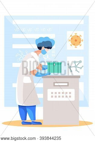 Medical Worker In Lab. Woman In White Coat And Mask Work With Research Equipment, Pharmacist Doing R