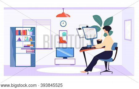 A Girl Is Sitting At A Table And Working On A Laptop. Home Office. Work At Home Or Freelance. A Youn