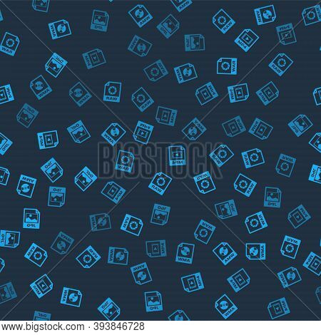 Set Wma File Document, Raw, Mp4 And Jpg On Seamless Pattern. Vector
