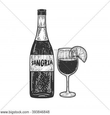Sangria Alcoholic Drink Liquor Sketch Engraving Vector Illustration. T-shirt Apparel Print Design. S