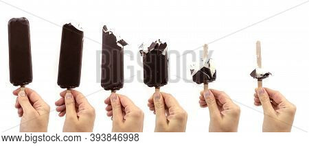 Set Of White Vanilla Ice Cream On Stick With Chocolate Glaze In A Hand, Summer Refresh Bite Cold Ice