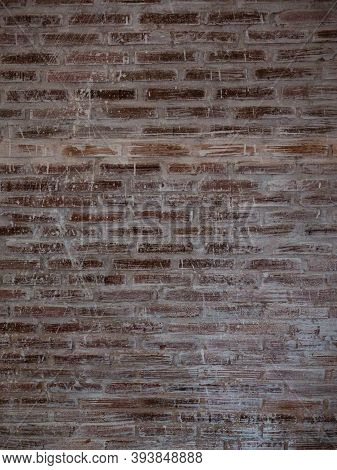 Red Brick Wall With Grunge Background And Vignetted.