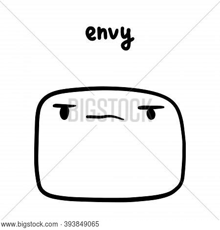 Envy Hand Drawn Vector Illustration In Cartoon Doodle Style Face Expressive Emotion Man