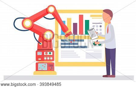 Male Scientist And Mechanical Arm Conducting Experiments. Artificial Intelligence. Man Writes Down D