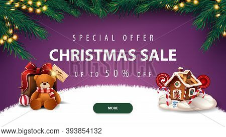 Special Offer, Christmas Sale, Up To 50 Off, Purple Discount Banner With Frame Of Christmas Tree, Ga