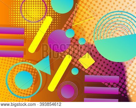 Geometric Abstract Background Design In Modern Memphis Style. Modern Composition With Geometric Shap