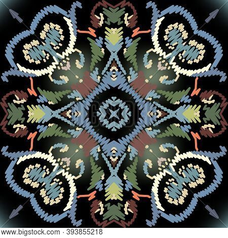 Embroidery Baroque Vector Seamless Pattern. Glowing Floral Grunge Background. Tapestry Wallpaper. Ca