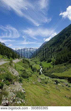 Sustenpass In The Swiss Mountains In Summer