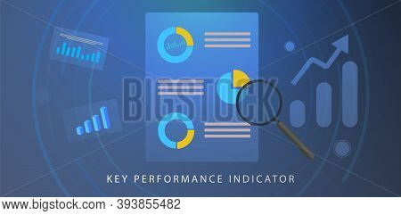 Kpi, Key Performance Indicator Concept. Bi (business Intelligence) Strategy With Planned Targets And