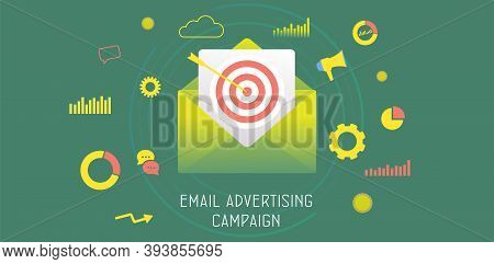 Email Advertising Campaign Concept. Digital Marketing Business Strategy, Inbound And Outbound Advert