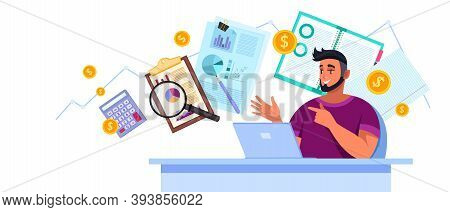 Financial Audit Analysis Vector Illustration With Young Man Consultant, Laptop, Charts, Magnifier, C
